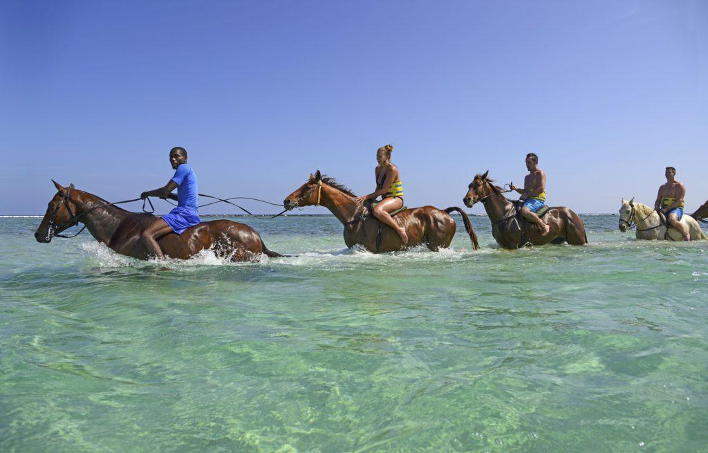 4 mensen die paardrijden in de zee