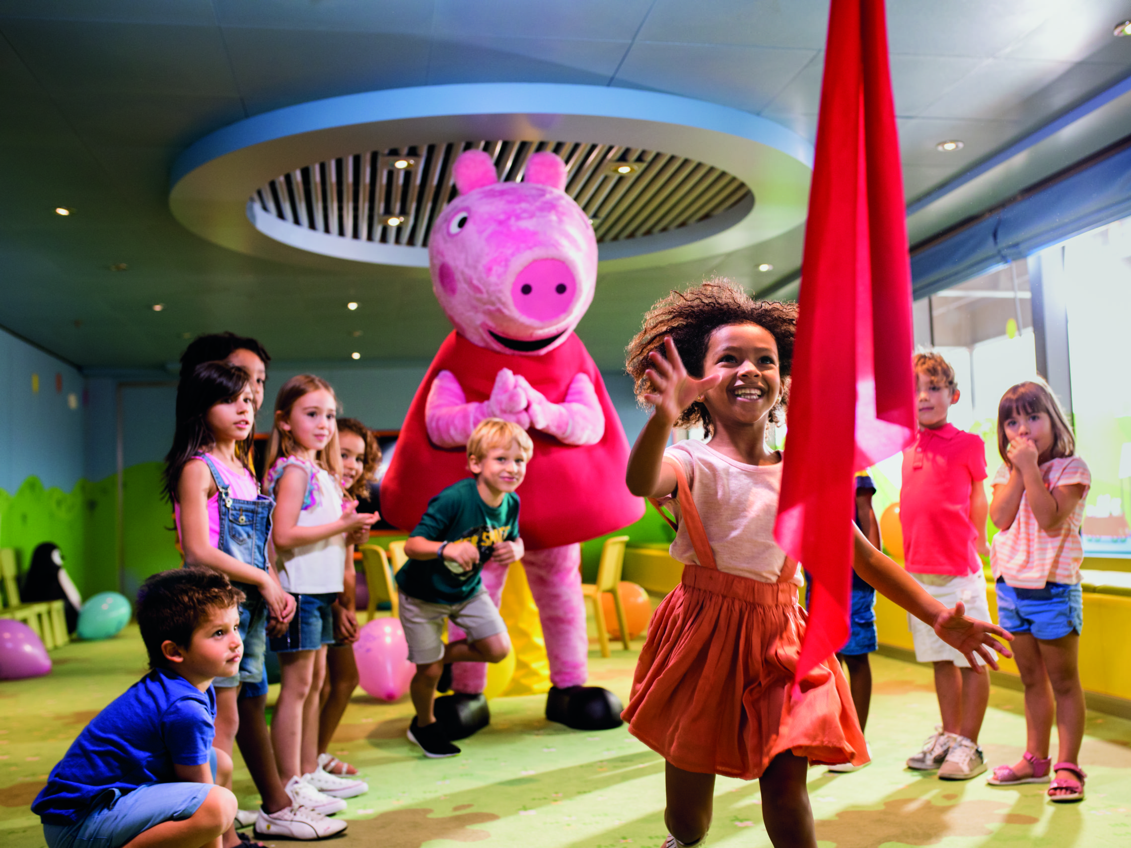 peppa big is aan het dansen met de kinderen