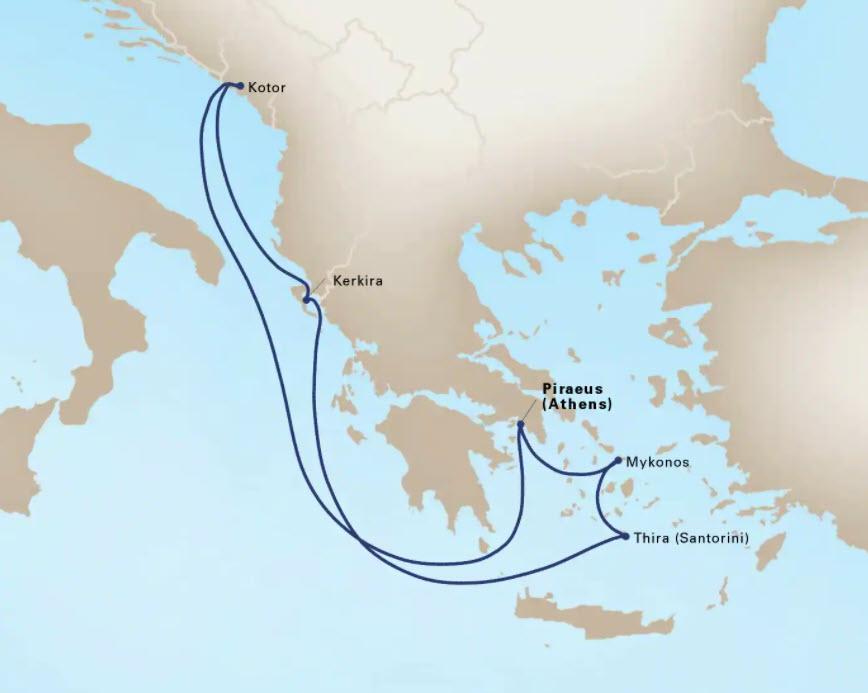 Holland America line map Griekenland